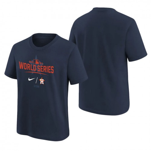 Youth Houston Astros Navy 2021 World Series Bound Authentic Collection Dugout T-Shirt
