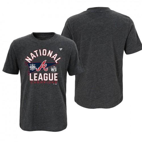 Youth Atlanta Braves Charcoal 2021 National League Champions Locker Room T-Shirt