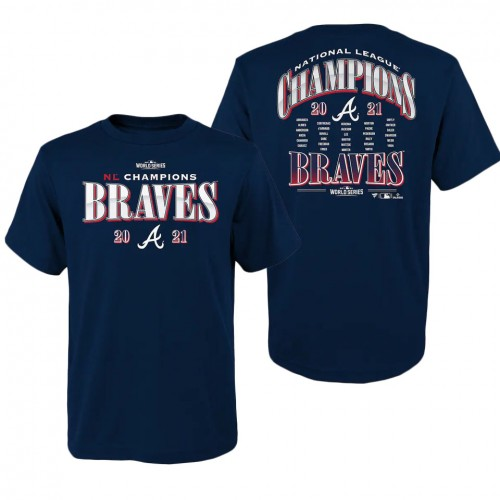 Youth Atlanta Braves Navy 2021 National League Champions Roster T-Shirt