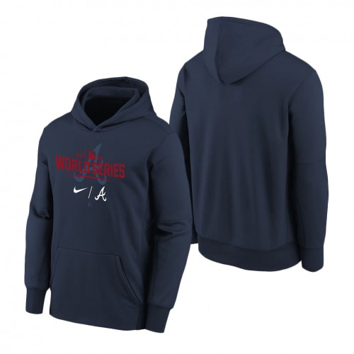 Youth Atlanta Braves Navy 2021 World Series Bound Authentic Collection Dugout Pullover Hoodie