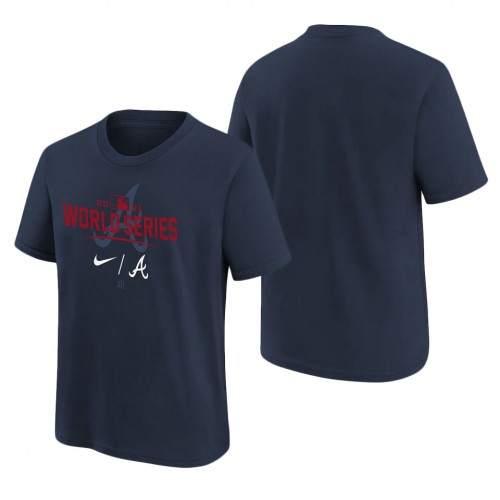 Youth Atlanta Braves Navy 2021 World Series Bound Authentic Collection Dugout T-Shirt
