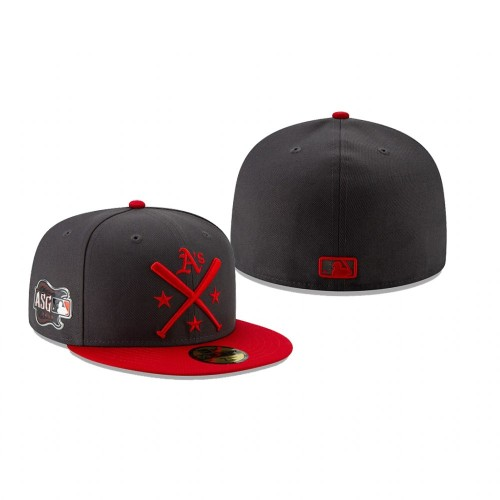 2019 MLB All-Star Workout Oakland Athletics 59FIFTY Graphite Red Hat