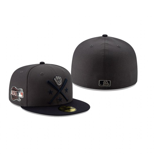 2019 MLB All-Star Workout Milwaukee Brewers 59FIFTY Graphite Navy Hat