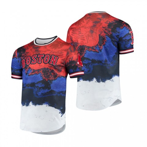 Men's Red Sox Red Royal Dip Dye Red White And Blue T-Shirt