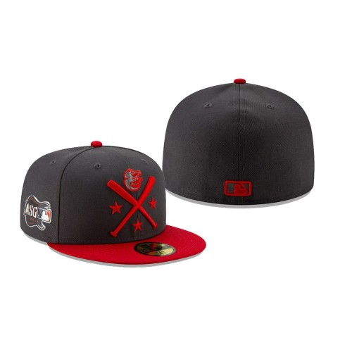 2019 MLB All-Star Workout Baltimore Orioles 59FIFTY Graphite Red Hat