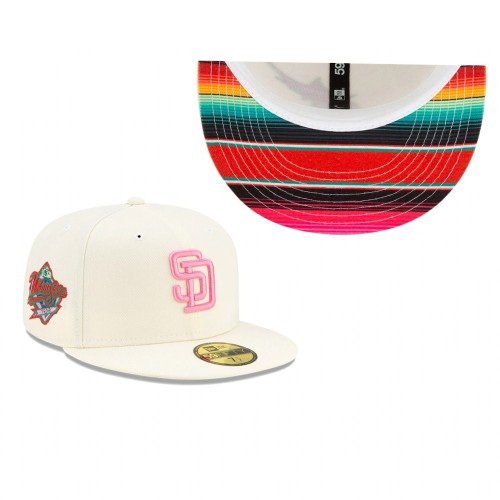 Padres Chrome Serape Under Visor 59FIFTY Fitted Cream Hat