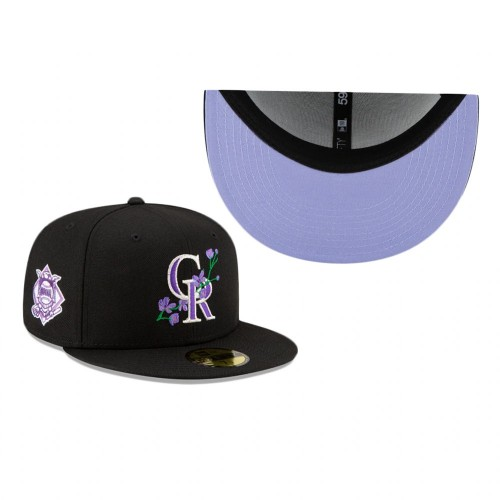 Rockies Side Patch Bloom 59FIFTY Fitted Black Hat